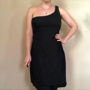 Helmut Lang black wool one shoulder pencil dress